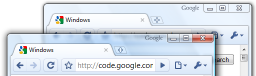 Two windows, each with one tab